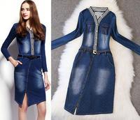 Top Quality!New Fashion Autumn Spring Dress Women Cotton Denim Striped Patchwork Casual Jeans Pocket Dress Sexy Mid-Calf Dress