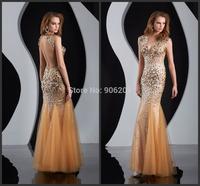 Sexy V-neck  Sleeveless Backless Mermaid Evening Dress Formal Party Dresses Floor-length vestidos de festa Evening Gown