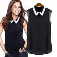 Hot Sale New European And American Style Peter Pan Collar Chiffon Shirts Fashion Sleeveless Women Shirts Pure Black And White