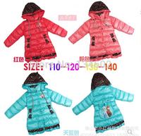 Retail 3 Colors 2014 Very popular Frozen Children's Coat Elsa Anan Girls Duck Down Cotton Coat Jacket Kids Cotton-padded Coat