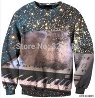 2014 New fashion Women Men Space punk cat Print 3D Sweatshirts Hoodies Galaxy sweaters Tops Free shipping
