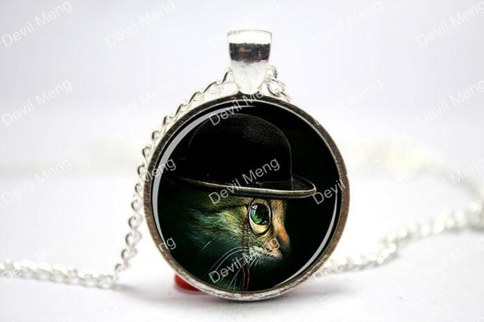 STEAMPUNK Pendant Steampunk Black Beige Green Pendant Steampunk Necklace Glass Cabochon Necklace(China (Mainland))