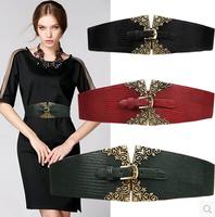 European and American retro print wide elastic belt buckle,belts for women,women thick belt,automatic belt