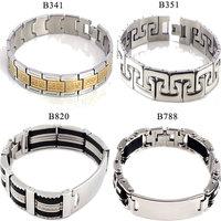 Fashion Women/Men Gold Silver Dichroic Stainless Steel Chain Bracelets Black Silicone Stainless Steel Bracelet Gift  Unisex