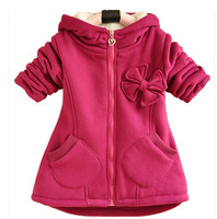 Retail+Free shipping!2014 winter Cartoon Fleece Outerwear girl fashion clothes/hooded jacket/Winter Coat roupa infantil   w01
