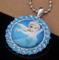 Frozen Princess Elsa Kid Children  Cartoon Crystal Pendant Necklace With Sparkling Cubic Zircon Paved Children Jewelry ds62