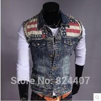 Men's Fashion Slim Fit Denim Vest Jeans Jacket chaleco hombre Sleeveless Punk Style Water Wash Destroyed Waistcoats Clothing