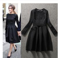 Free Shipping Women 2014  new women Slim  cotton jacquard dress, Long sleeve Vintage  black  Puff Dresses S M L XL