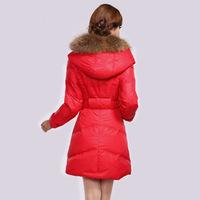2014 winter large fur collar women jacket slim thickening duck down coat medium-long women down jacket snow parka free shipping
