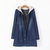 hot selling Ladies European style large size women's long sections Slim plus thick velvet denim jacket windbreaker coat  110306