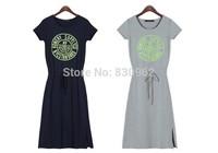2014 hot selling short sleeve knitting long casual dress