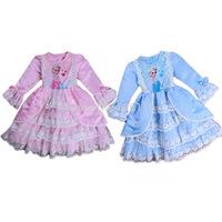 2014 NEW Retail hot sell children/kids/girls frozen long sleeve dress with lace / Frozen Elsa dress / Performance dress