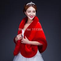 2014 wedding wrap jacket shrug bridal faux fur shawl bride shawl red thermal lengthen bridal faux fur shawl