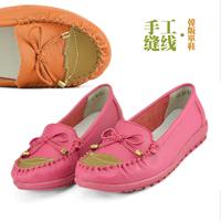 Autumn single shoes female shoes cowhide color block decoration bow flat slip-resistant mother comfortable wedges shoes