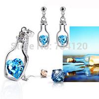 J016 Cheap  Brand Elegant Noble Gold/Silver Plated Crystal Drift Bottle Heart Necklace Earrings Wedding Jewelry Sets For Women