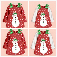 Retail Girl Christmas Dress Long long Sleeve New Year Dot Christmas dress kids dress 2-6year