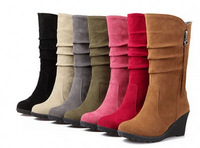 Women new fashion autumn spring snow boots wedges 7cm thick high-heeled solid color casual shoes large plus size 40-43