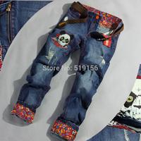 Free Shipping 2014 Men's Autumn Popular Personality Hole Print Patch Denim Long Jeans Pants Male Long Pants Trousers