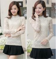 Free Shipping New 2014 Fashion Women Korean Autumn Elegant Peter pan Collar Long Sleeve Beading Decoration Lace blouse 6163