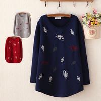 Winter New women fashion embroidery compound thickening fishbone pattern fleece