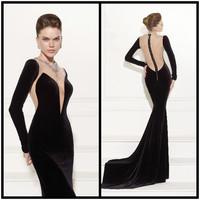 Neck backless crystal long sleeve prom dress black mermaid evening