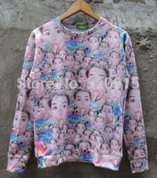 2014 New fashion Women Men intensive head Miley eat ice cream Print 3D Sweatshirts Hoodies Galaxy sweaters Tops Free shipping