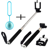 High Quality RF AB Shutter 2  Bluetooth Selfie Remote Control+New Extendable Self Portrait Selfie Stick Handheld Monopod