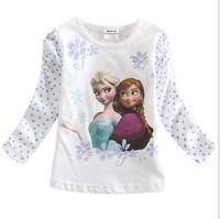 2014 Autumn long sleeve girl cartoon explosion models of single children T-shirt white, 14OCT243