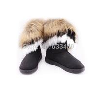 FreeShippingHot Women Faux Fox Rabbit Fur Tassel Shoes Winter High Long Snow Ankle BootsDropShipping
