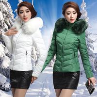 Yalu 2014 winter white duck down slim thickening disassembly fur collar short down coat design Women's Clothing down jacket