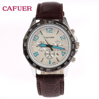 Free Shipping! CAFUER Genuine Leather Quartz Wrist Watch Men Military Movement Watch