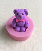 Cute Teddy Bear 3D silicone Mould Cartoon Figre/cake tools Soap Mold Sugar craft Cake Decoration-S241