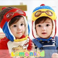 2014 New lemonkid winter Plus velvet warm Children Cap Thickened COOL BEAR Flight Knitted Kids Bomber hats 24026#