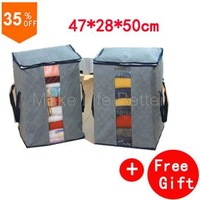 High quality bamboo charcoal covered Storage Boxes bins for clothes ,Single pull head storage box organizer