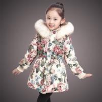 2015 Female Children Winter Jackets For Girls Flower Cotton-padded Outerwear Coats Warm Kids Parkas Free Shipping