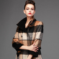 women's british style plaid double breasted wool coat medium-long stand collar woolen outerwear