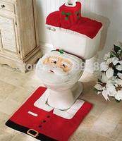 43x33.5CM 3Pcs/set Christmas Decorations XMAS Santa Toilet Seat Cover Rug Bathroom Set XD10