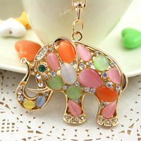 2Colors Great Gift for girl women Opal Elephant Key chain chaveiro metal Keychain Alloy Keyring,Real Gold Plated ,Handbag Charms