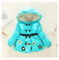 free shipping 2014 children new winter coat for girls plus thick velvet flowers foreign trade children's clothing padded jacket