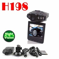 by post 1pc no profit  H198 car DVR with 2.5 TFT LCD SCREEN 6 LEDS for IR and night vision video format