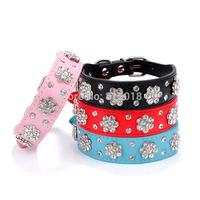 Wholesale 20pcs /lot 2.5cm wide rhinestone flower PU Leather Dog cats Collar