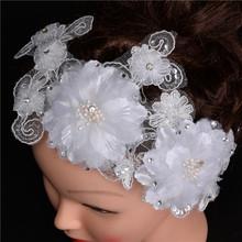 Fashion Free shipping Trendy Wedding Headwear Beautiful Bridal Lace Flower Hair Accessories Hair Jewelry For Women