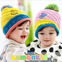 2014 New lemonkid winter warm Children Cap Medal decals colours Ball Knitted Kids Baret hats 24020#