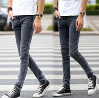 Retail or wholesale autumn and winter male skinny jeans slim black blue gray popular casual pants men 2014