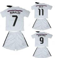 High quality kits 14 15 Real Madrid Children soccer jerseys+shorts RONALDO BALE KROOS home kids shirts away soccer uniforms set