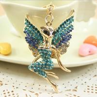 4Colors Great Gift for girl women Rhinestone Fox Angel Car Key chain metal Keychain Alloy Keyring,Gold Plated ,Handbag Charms