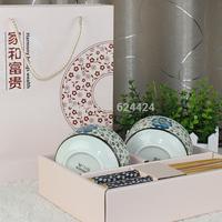 Glaze color ceramic tableware wankuai lovers chopsticks bowl gift set