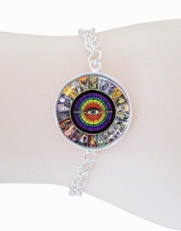 fashion Tarot Card bracelet eye charm bracelet bangle glass cabochon photo art picture glass dome bracelets femme jewelry(China (Mainland))