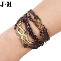 Vintage Punk style handmade leather yarn easy-hook bracelets, unisex crown shape free size link chain charm bracelets bangles
