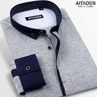 2014 men korean slim businese shirt male long-sleeve slim casual shirts men's clothing fashion patchwork fashion shirt